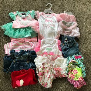Girls lot of mixed sets clothes tops jeans 6 mos